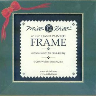 """Mill Hill Matte Green 6"""" Frame with Red Bow"""