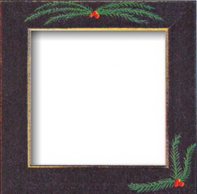 """Mill Hill Matte Black with Pine Boughs 6"""" Frame"""
