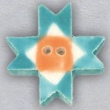 Mill Hill Ceramic Button 86425 Turquoise Ohio Star