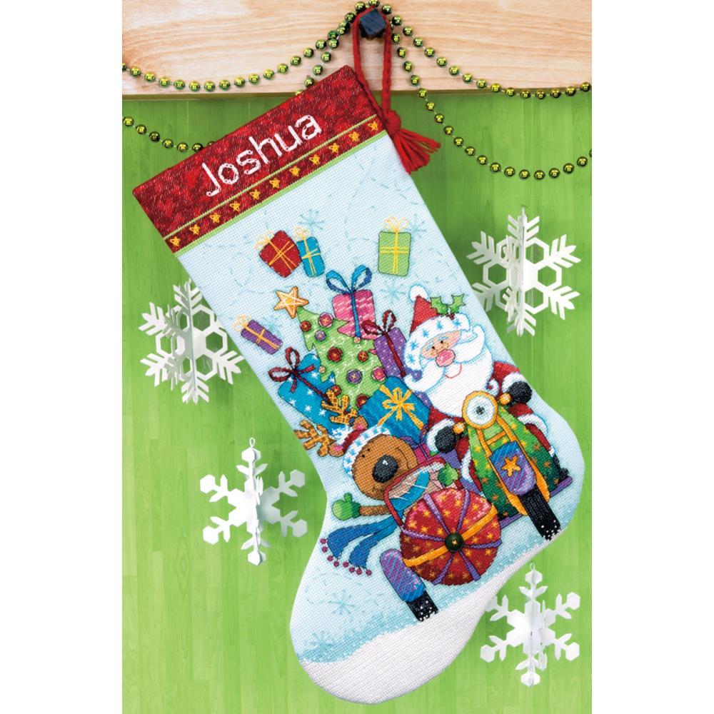 Dimensions Christmas Stocking Kits.Santa S Sidecar Stocking